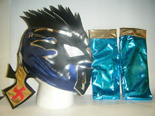 KALISTO & ARM SLEEVES CHILDRENS WRESTLING MASK FANCY DRESS UP LUCHA DRAGONS WWE