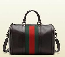 Gucci Bella Vintage Web leather Boston bag in Brown