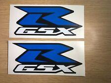 2 x GSXR Suzuki Decals Graphics Stickers 150mm Vinyl Overlay Blue White Non OEM