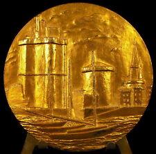 Médaille Les tours du Vieux-Port de La Rochelle navire du blason 68mm 1972 Medal