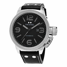 TW Steel Men's TWA201 Automatic Stainless Steel Case Black Leather Strap Watch