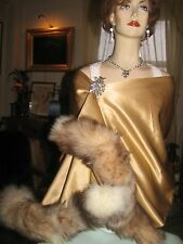 100% CAMEL HAIR WRAP STOLE LINED IN GOLD SILK TRIMMED IN FOX FUR 63' x 20'