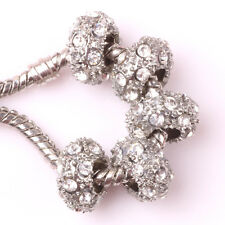 Fashion 5pcs Silver CZ nest big hole Beads Fit European Charm Bracelet DIY AB109