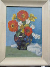 Old C.1940's Oil on Board Painting Flowers in Vase Margurite MacGregor (Werder)