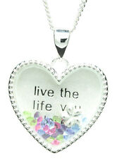 """925 sterling silver """"Live the life you love"""""""" floating heart pendant & necklace"""