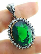 HANDMADE VICTORIAN JEWELRY 925 STERLING SILVER EMERALD TOPAZ PENDANT P1147