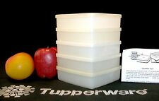 Tupperware 5 WHITE Sandwich Square A Way Keepers ~Wipes Organizers Crayon Holder