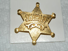 NEW ON CARD, SHERIFF BADGE PIN TIE, LAPEL OR HAT PIN GOLD COLOR