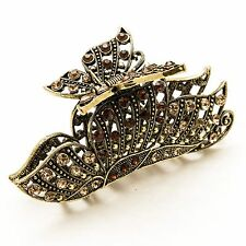 2016 New Fashion brown Crystal Metal butterfly Hair Claws Clips Pins #876