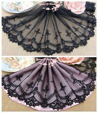 "8""*1Y Embroidered Floral Tulle Lace Trim~Pure Black~Silent Beauty~Elegant~"