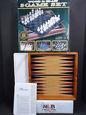 Wood & Glass 3 Game Set Checkers Chess and Backgammon Glass Board