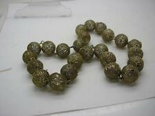 Antique Chinese Silver Filligree Worry Beads or Necklace