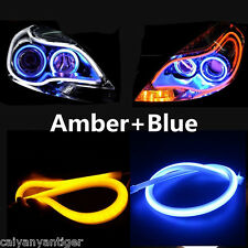 2x60cm DRL LED Light Blue Amber Flexible Tube Switchback Headlight For BMW Audi