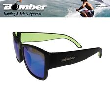 Bomber Floating GOMER Sunglasses Matte Black w/ Green Mirror Lens Mens