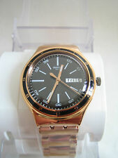 SWATCH CHARCOAL MEDAL ROSE GOLD WATCH YGG704G BNWT IRONY COLLECTION GENUINE