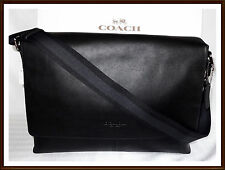 NWT NEW $450 Coach Leather Charles Briefcase Laptop Messenger Bag BLACK
