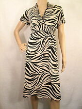 EN FOCUS STUDIO Black & Beige Tiger Short Sleeves Jersey Dress, Size 12