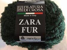 Filatura di Crosa Zara Fur Yarn #11 Hunter Green Merino Superwash Short Eyelash