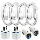 4x Sync / Charging Kit - Charge Cords + Wall & Car Chargers for iPhone 6s 6 5s 5