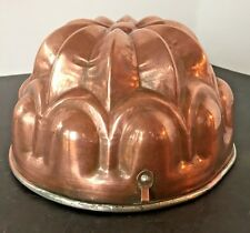 "Vintage Copper Mold France 7"" Heavy Jello Cake Dessert Tin lined Crown Shape"