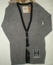 NWT HOLLISTER  SPRING VALLEY BEACH CARDIGAN SWEATER VELVET H  DARK GRAY L OR M