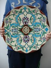 AMAZING MINT FRENCH ART NOUVEAU SIGNED POTTERY MAJOLICA CHARGER - BEST OFFER OK