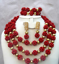 Latest Design Style Red Balls African Beads Bridal Wedding Party Jewelry Set