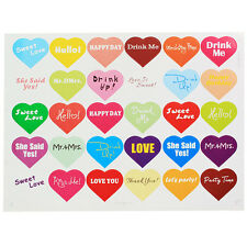 150 PCS Colorful Love Heart Label Sticker For Straw Cupcake Envelope Seals Décor