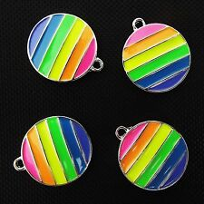 4 x émail rond pride rainbow gay charms pendants