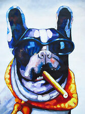 CANVAS DOG CIGAR sun glasses PRINT PAINTING BIG MAFIA  80cm 32""