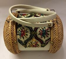 Vintage Retro 1960s Barrel Purse Beaded Needlepoint Rattan