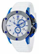 Oniss Men's Bold Collection blue Tungsten Silicone White Band Chronograph Watch