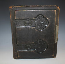 VICTORIAN LEATHER EMBOSSED LG PHOTO ALBUM 42 PHOTOS CHILDREN CAT DOGS INFANTS