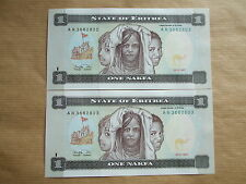 2  X  ERITREA  1  NAKFA   1997,  UNCIRCULATED.  (2 NOTES, GREAT VALUE)