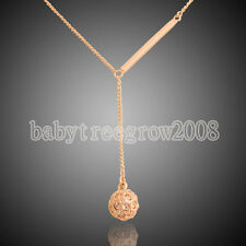 Elegant Dangle Ball Swarovski 18K Rose Gold Plated Fashion Lady's Necklace W420
