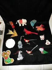 15 Vintage Christmas Ornaments - 6 Birds, Elephant, Mice, Charlie Brown, Flocked