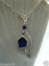 BLUE SEA GLASS NECKLACE - with Swarovski elements Bead and Feather
