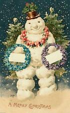 CHRISTMAS, SNOWMAN WITH WREATHS, VINTAGE PIC, MAGNET