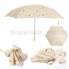 5 Folding Cute Animal Umbrella Super Mini Compact Sunshade Rain for Women Beige