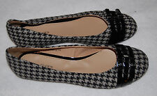 Womens Shoes BALLET FLATS Black Gray HOUNDSTOOTH CHECK 8 Fabric Upper