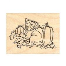 Pumpkin Patch Pit Bull Rubber Stamp - (RH18920) FREE SHIPPING