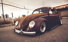 VW BEETLE - CLASSIC Car Rusty Look Large Wall Art Canvas Picture 20 x 30""