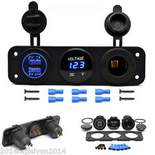 Dual USB Charger + Voltmeter +12V Power Socket 3 Hole Panel For Marine Car Truck