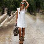 Sommer Kleid Häckelkleid Strandkleid Boho Hippie Spitzenkleid Gr. S M L XL Weiß