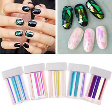 5 Roll Broken Glass Foils Finger Nail Art Stencil Decal Stickers DIY Decoration