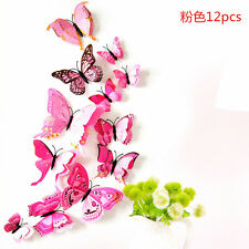 12pcs 3D Double Layer Butterfly Wall Stickers Home Room Decal Art Decor Ornament