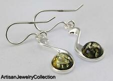GREEN BALTIC AMBER EARRINGS 925 STERLING SILVER ARTISAN JEWELRY COLLECTION V014