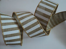 Brown Burlap Jute & White Striped Wired Ribbon 38mm wide 3m FOR 2!