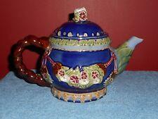 MAJOLICA POTTERY TEA POT PLUMB BLOSSUMS HEAVY CERAMIC TEA POT CBK LTD 1991