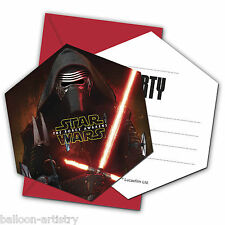 6 Star Wars Episode VII 7 The Force Awakens Party Invitations plus Envelopes